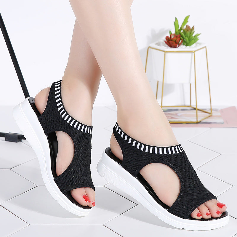 Women Sandals Summer 2019 New Female Shoes Woman Summer Wedge Comfortable Sandals Ladies Slip-on Flat Sandals Women Sandalias