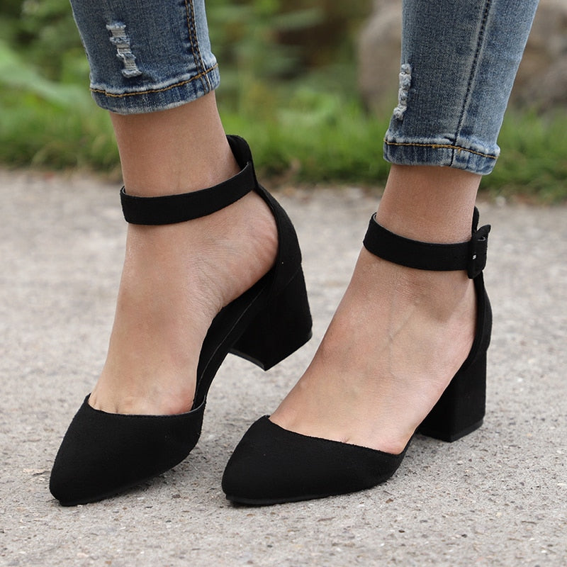 6bafcaa9888 Women Sandals With 3cm Block Heels Summer Shoes Women Casual Ankle Strap  Sandalias Mujer Plus Size