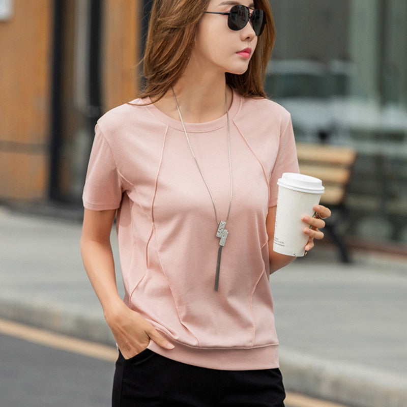 Women T-shirts 2019 Spring Summer Fashion Female Solid O-Neck Casual Loose Cotton Short Sleeve T-shirt Pullover Tops Tees Tshirt