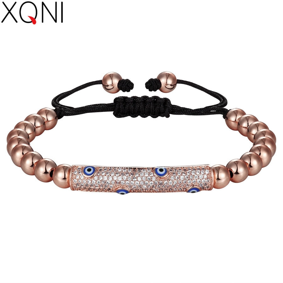 XQNI Black Color of Rope From Special Design Eyes with Cubic Zircon 4MM Beads Women Bracelet For Birthday Party Present Discount
