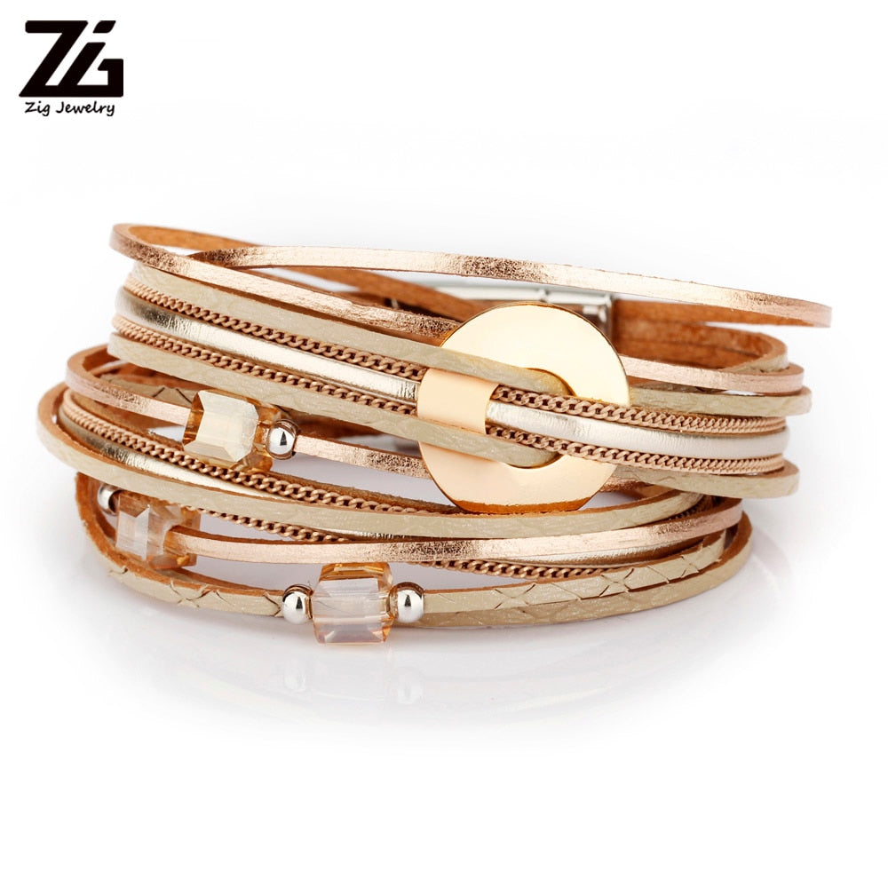 ZG 2019 Fashion Jewelry Bracelet Ladies in 3 Colors Women Leather Long Bracelet with Crystal Beads and Metal Charms