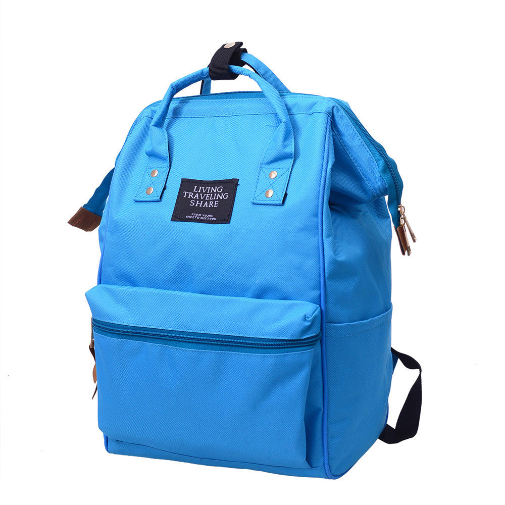 Unisex Solid Backpack School Travel Bag Double Shoulder Bag Zipper Bag - Shoplootlos