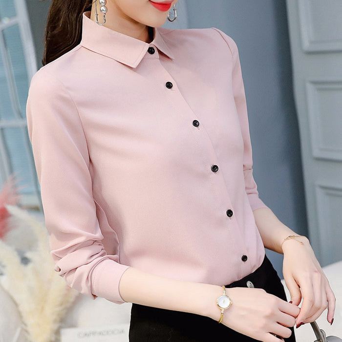 Spring Summer Women Tops Long Sleeve Casual Chiffon Blouse Female V-Neck Work Wear Solid Color White Office Shirts For Women - Shoplootlos