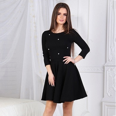 2018 Autumn New Fashion Women's O-neck Dress Solid Color Beaded 3/4 Sleeve Multicolor Dresses Casual Party Mini Dress Vestidos - Shoplootlos