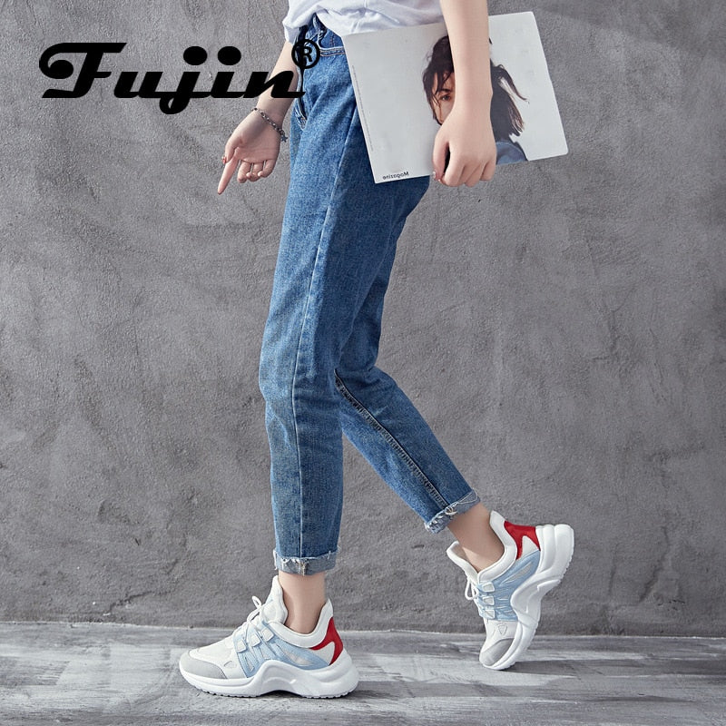 Fujin Brand 2019 Breathable Mesh Women Casual Shoes Vulcanize Female Fashion Sneakers Lace Up High Leisure Footwears 11.11 - Shoplootlos