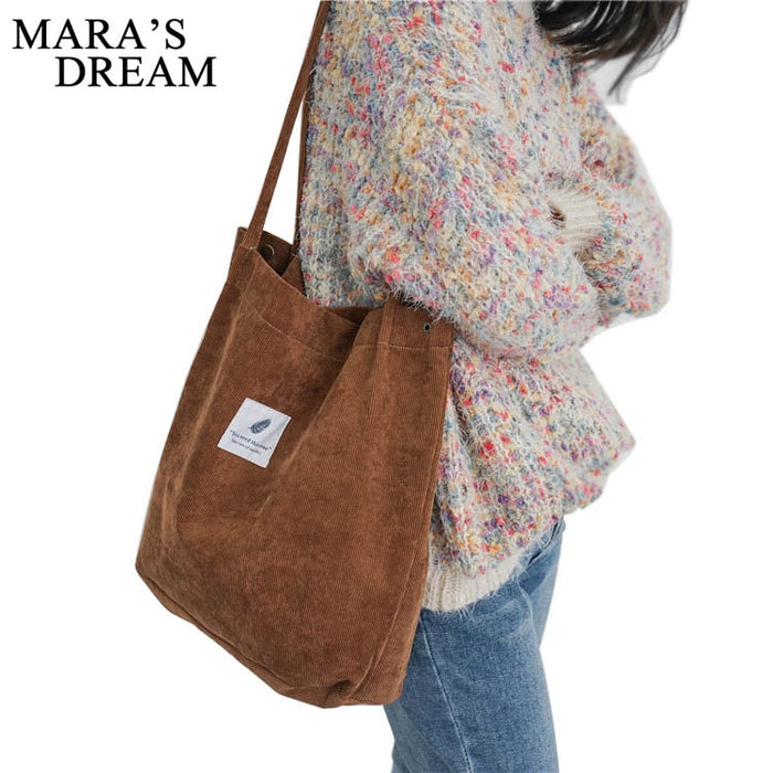 Mara's Dream High Capacity Women Corduroy Tote Ladies Casual Solid Color Shoulder Bag Foldable Reusable Women Shopping Beach Bag - Shoplootlos