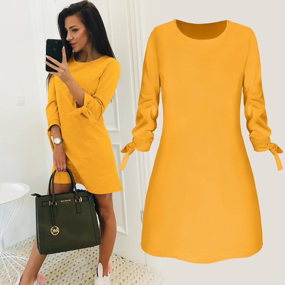 2019 Spring New Fashion Solid Color Dress Casual O-Neck Loose Dresses 3/4 Sleeve Bow Elegant Beach Female Vestidos Plus Size - Shoplootlos