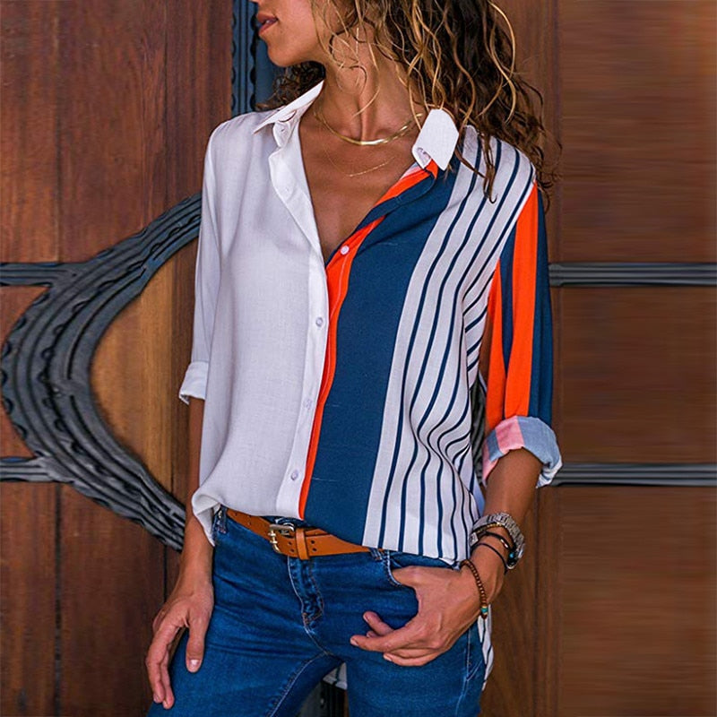 Rogi Women Blouses 2019 Color Block Striped Shirt Elegant Office Lady Blouse Casual Long Sleeve Button Shirt Tops Chemise Femme - Shoplootlos