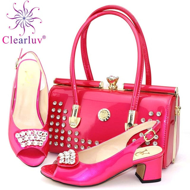 53d1fdf8806 Latest Italian Shoes with Matching Bags Set Decorated with Appliques Women Shoes  High Heel African Shoes