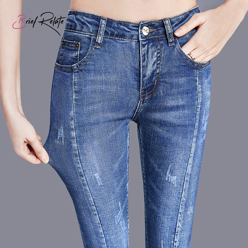 skinny ladies jeans Women Denim Bell Bottoms bleached elegant cut casual/office wear