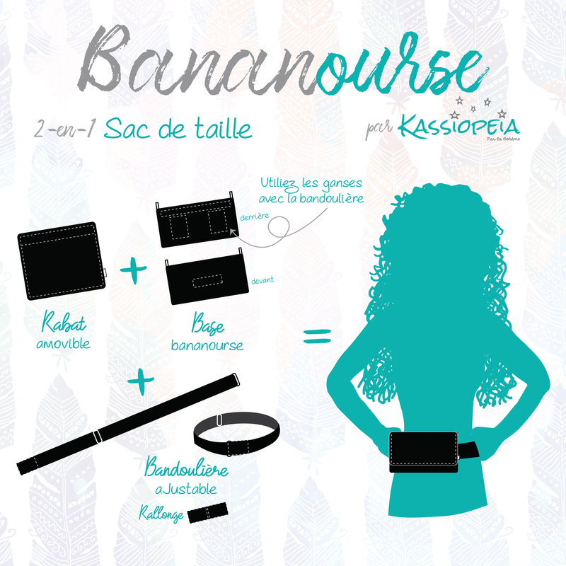 "Base - 8"" BananOurse Noir (Sac banane transformable)"