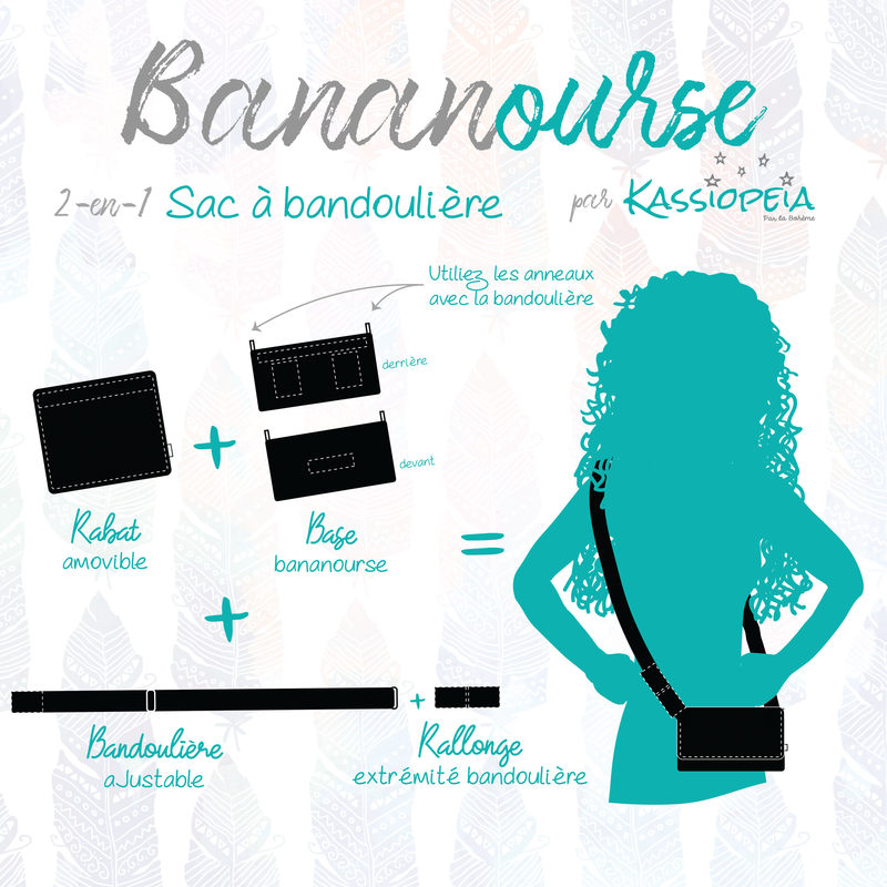 "Base - 8"" BananOurse Paillettes Noires (Sac banane transformable)"