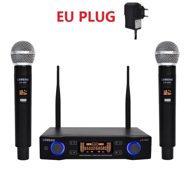 2 Handheld UHF Frequencies | Dynamic Capsule | 2 channels Wireless Microphone for Karaoke System