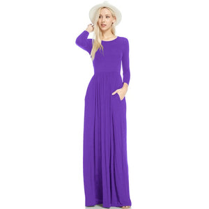 Loose Plain Maxi Dress With Pockets - Blunt Script