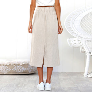 Bohemia High Waist Button Skirt - Blunt Script
