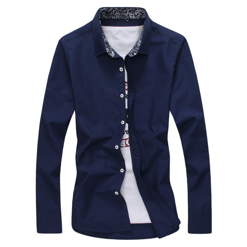 Long Sleeve Solid Casual Shirt - Blunt Script