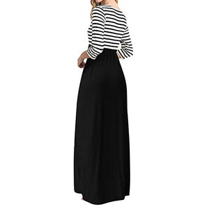 Maxi Stripped/Solid Long Sleeve Dress - Blunt Script