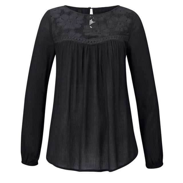 Women's Lace Patchwork Blouse - Blunt Script