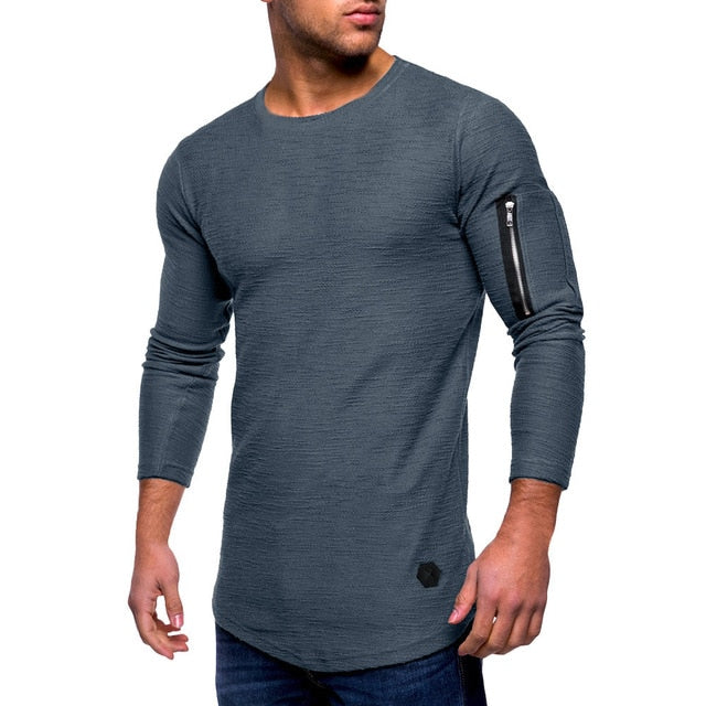 Long-Sleeved Zipper Solid T-shirt - Blunt Script