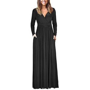V Neck Loose Long Sleeve Maxi Dress - Blunt Script