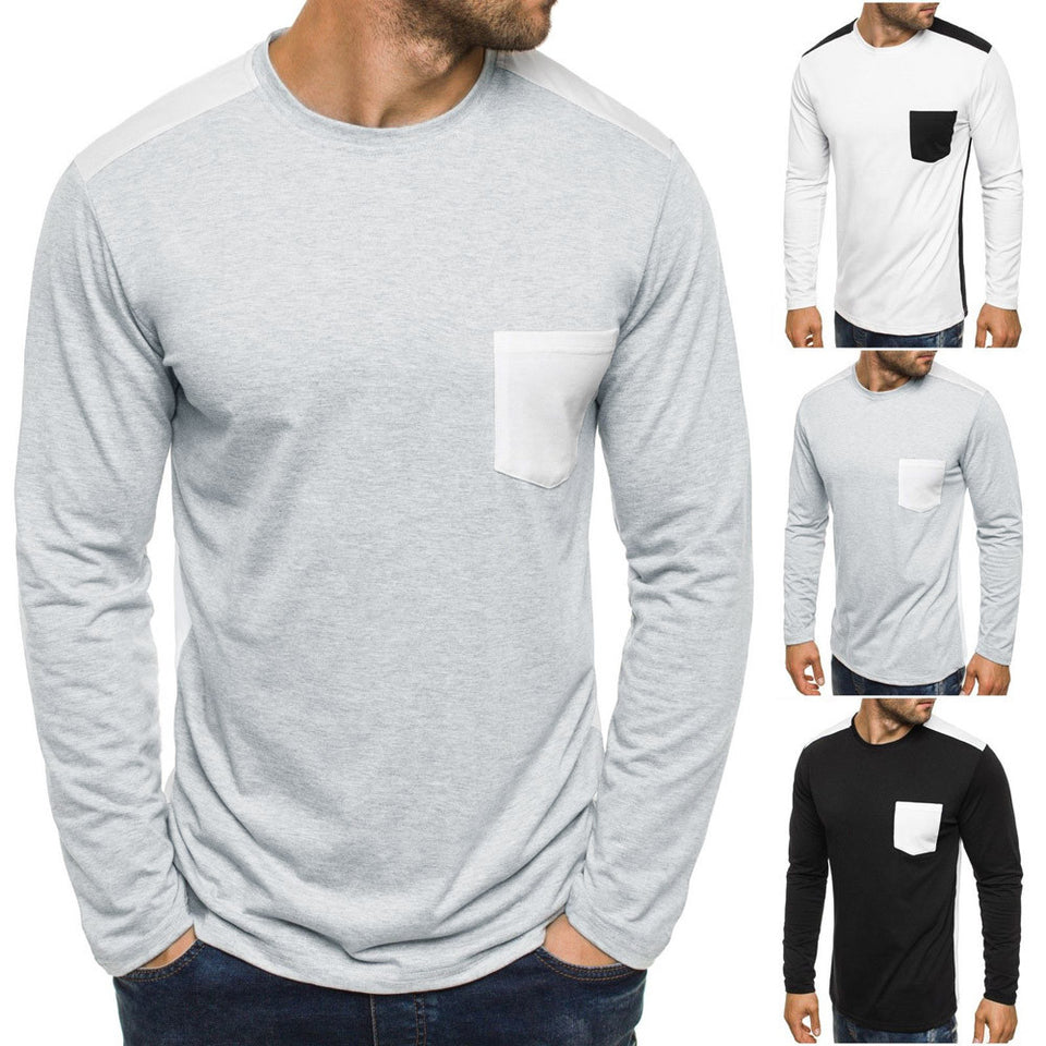 Long Sleeve Patchwork Solid T Shirt - Blunt Script