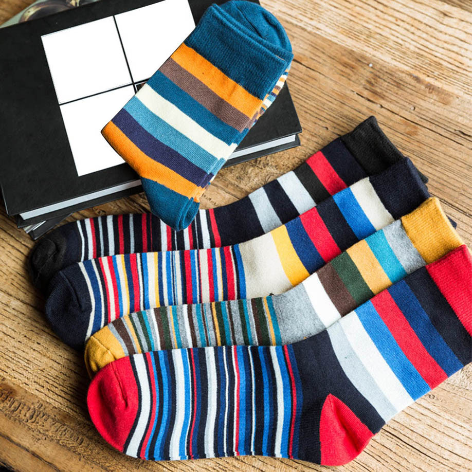 Colorful Stripped Cotton Socks - Blunt Script