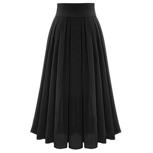 High Waist Maxi Flared Pleated Skirt - Blunt Script