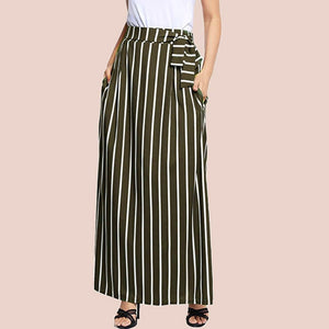 Chic Striped Maxi Skirt - Blunt Script
