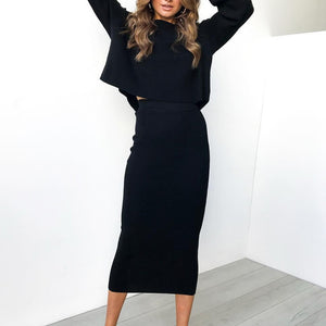 High-Waist Bodycon Long Skirt - Blunt Script