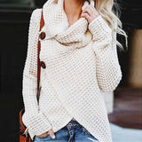 Knitted Long Sleeve Scarf Collar Sweater - Blunt Script