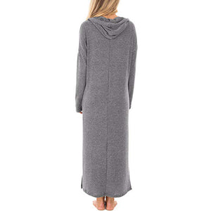 Solid Long Sleeve Hooded Maxi Dress - Blunt Script
