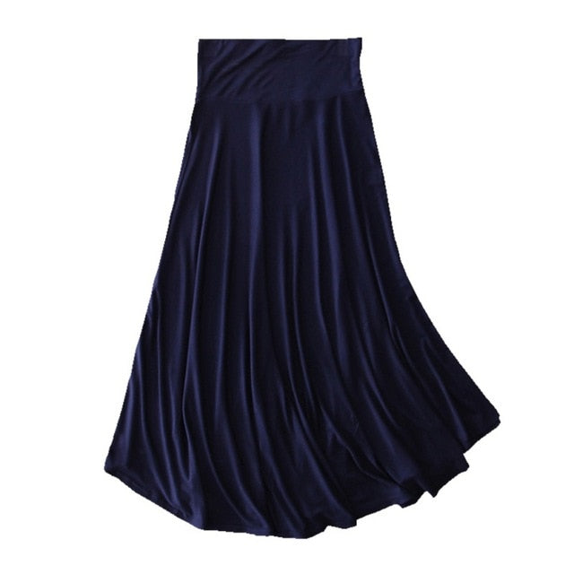 Long Elastic Waist Pleated Maxi Skirt - Blunt Script