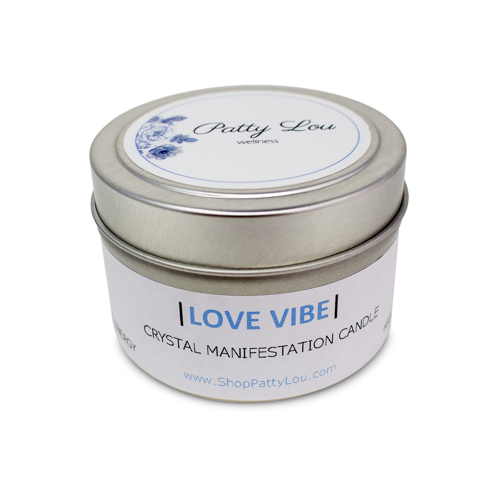Patty Lou Love Vibe crystal manifestation candle, contains essential fragrance oil and rose quartz crystal infused with reiki energy