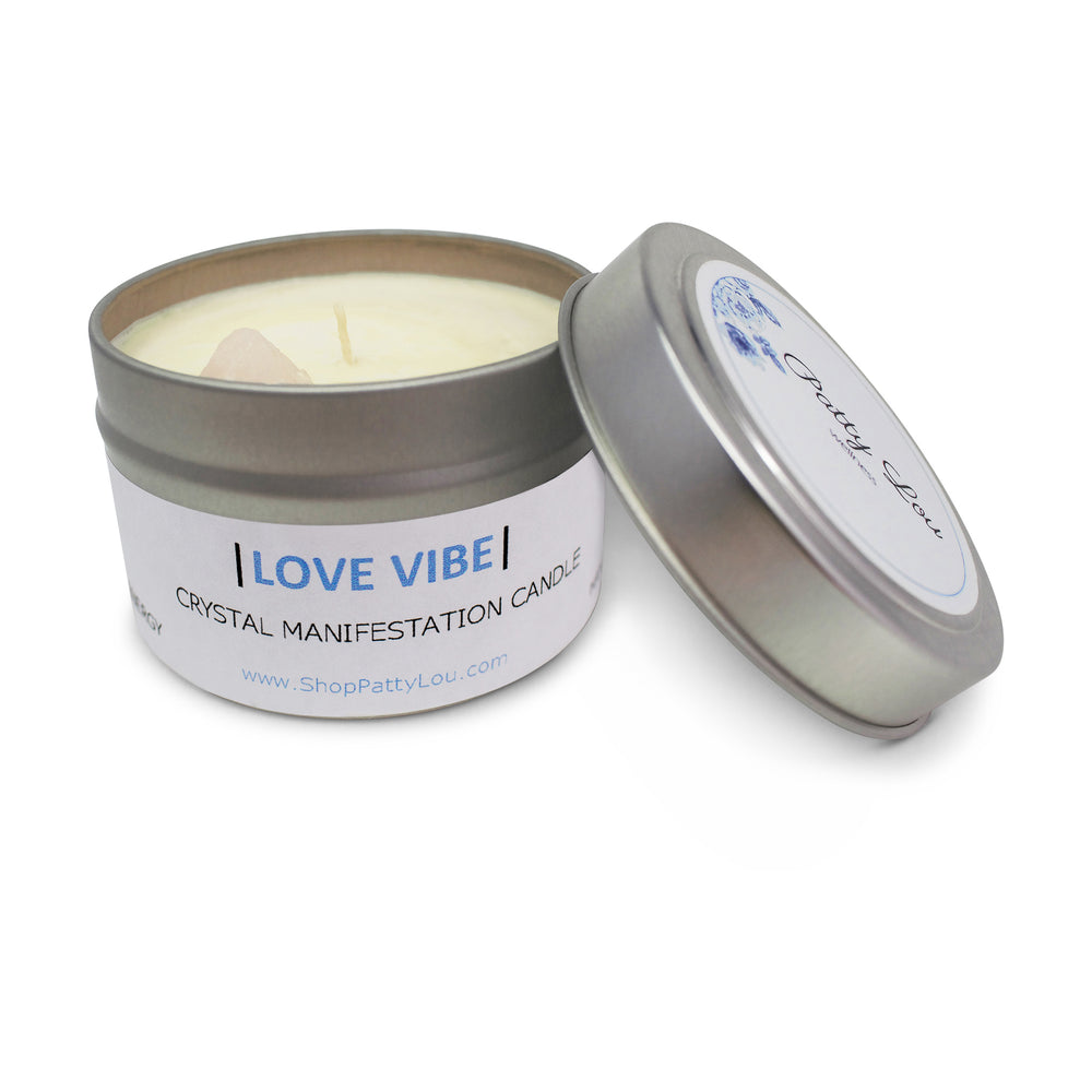 Patty Lou, Love Vibe crystal manifestation candle, contains essential fragrance oil and rose quartz crystal infused with reiki energy