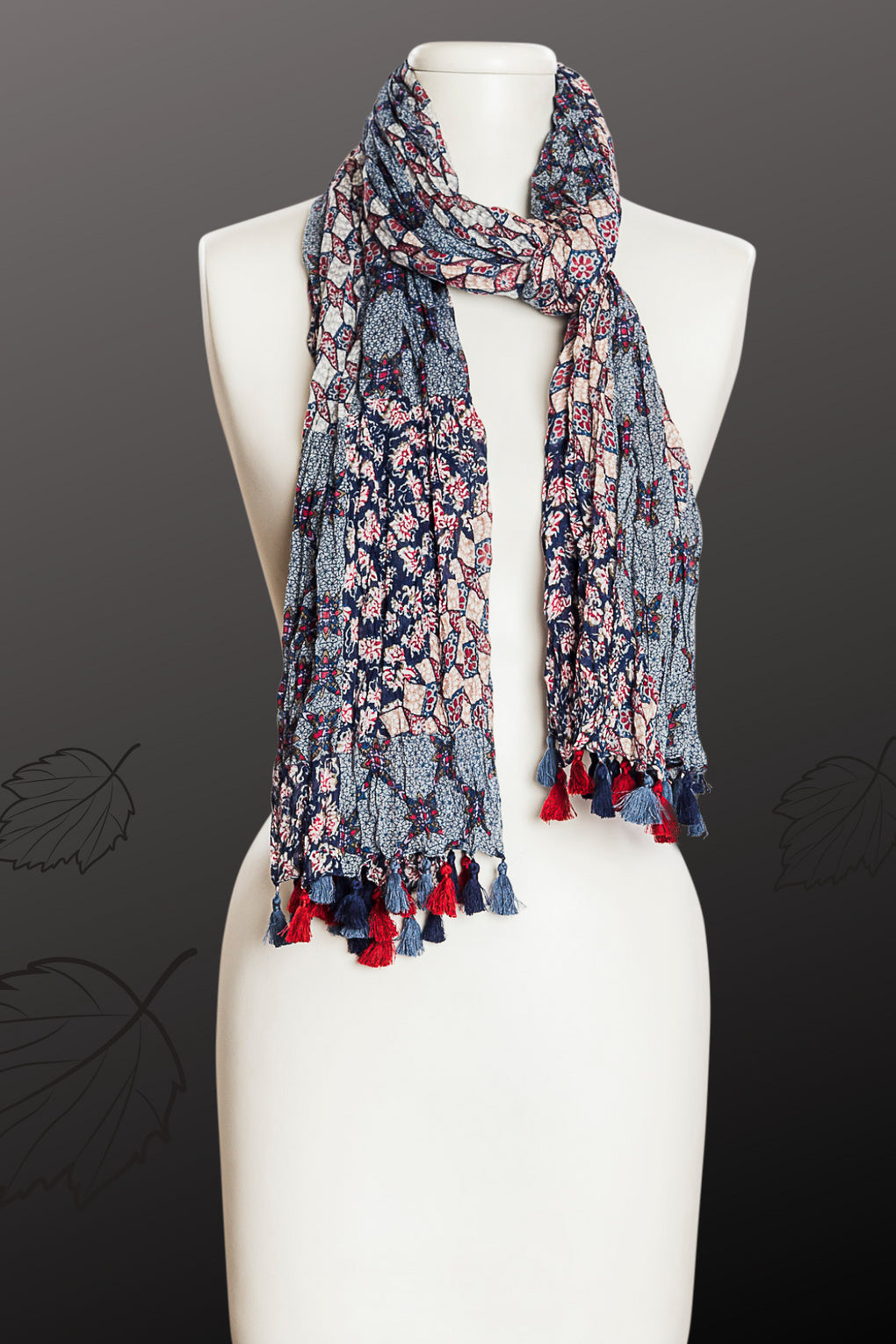 Patchwork Diamonds Print with Tassels Scarf (SE-9651)