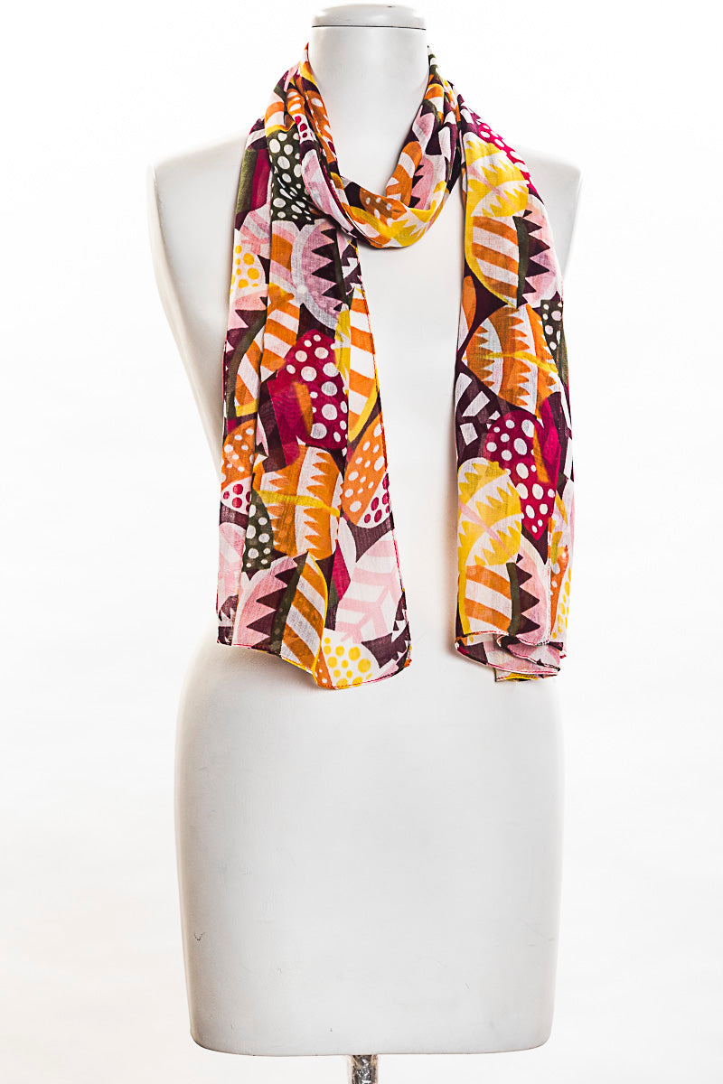 Striped Leaves Scarf (SE-1328)