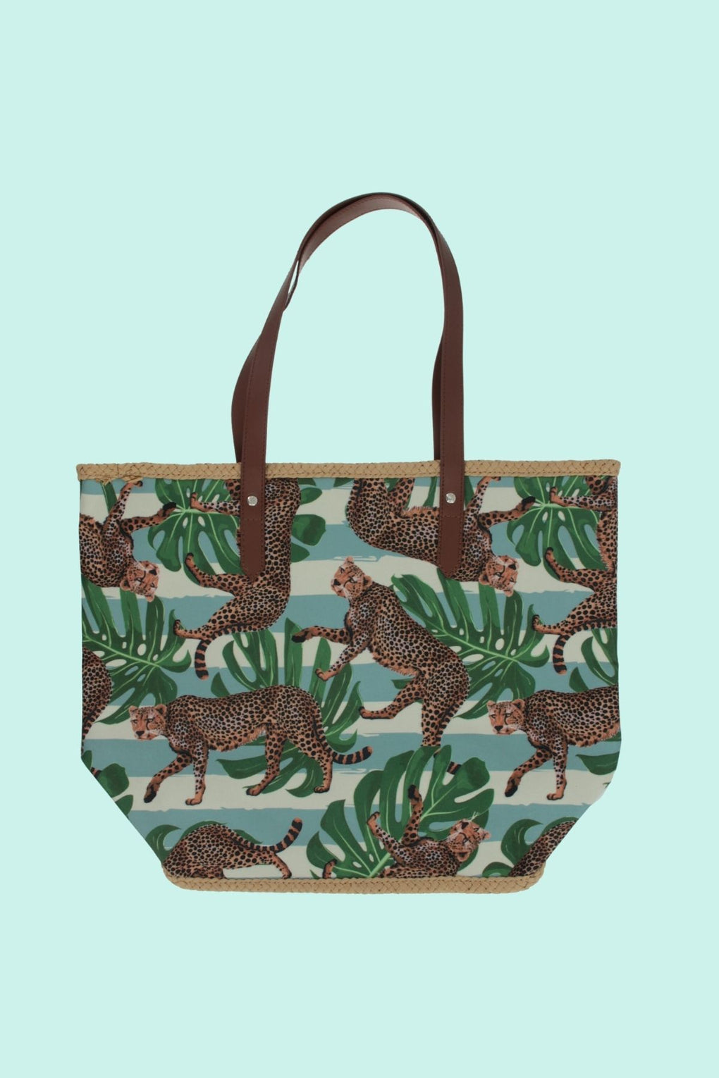 Roaming Tigers On Leaves Tote (MH-1034-Multi Green)