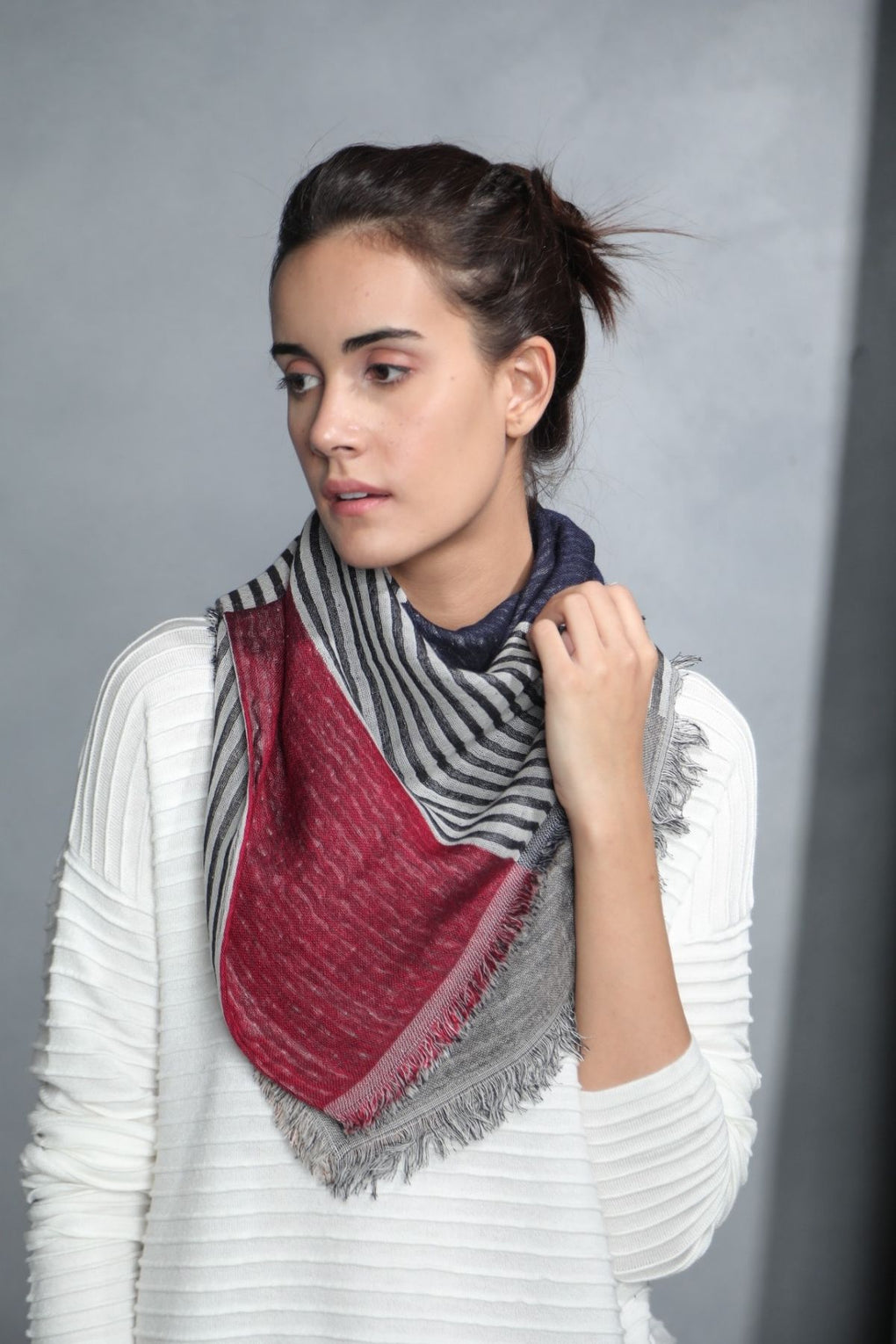 Striped panels Jacquard Scarf (SE-652)