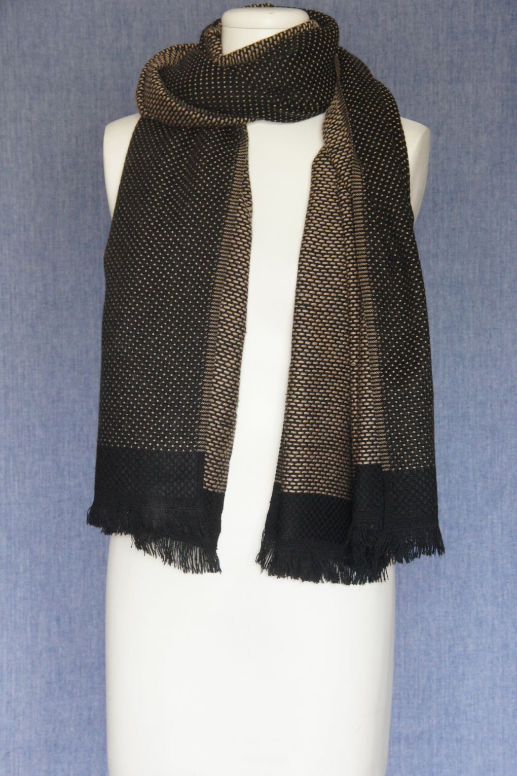 Dobby Dots with Solid Border Scarf (SE-1638)