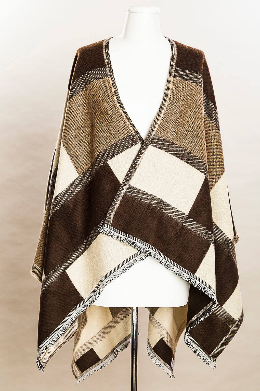 Reversible Color Block Italian Poncho (SE-9589)