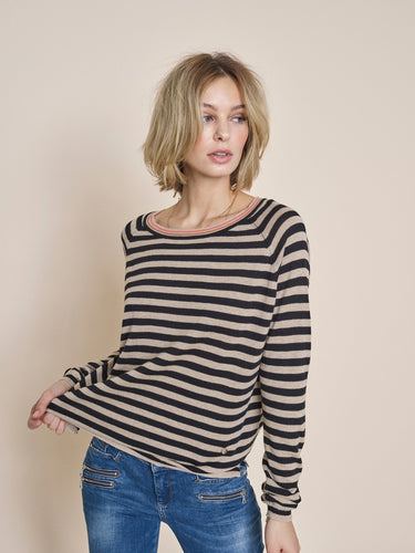 WYN STRIPE KNIT - tan/blk