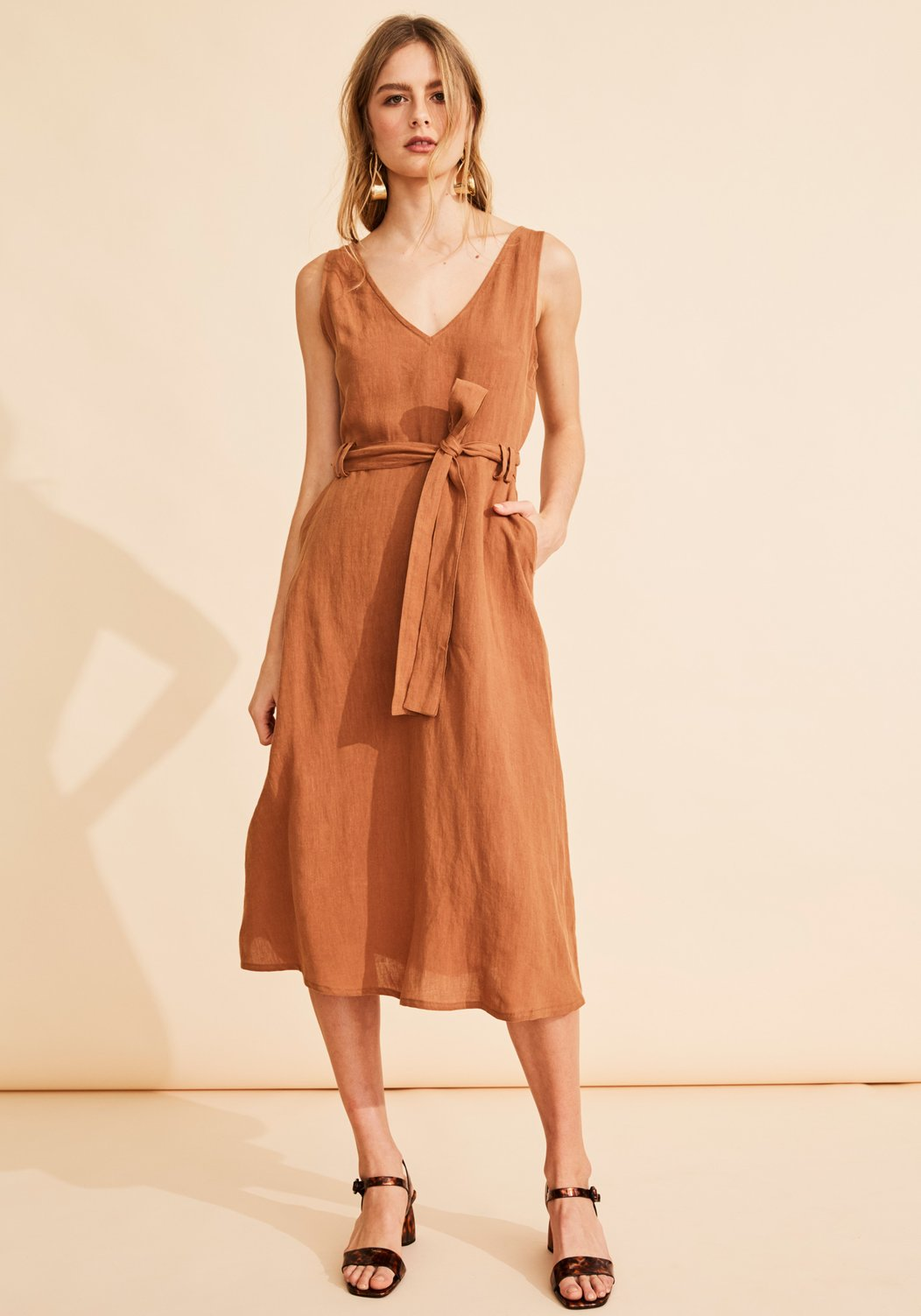 NEVADA LINEN DRESS - terracotta