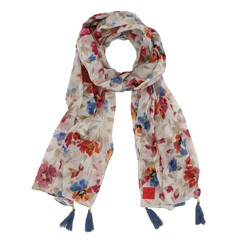 COTTON VOILE FLOWERS WITH TASSEL SCARF