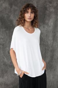 BAMBOO COTTON S/S TOP - white