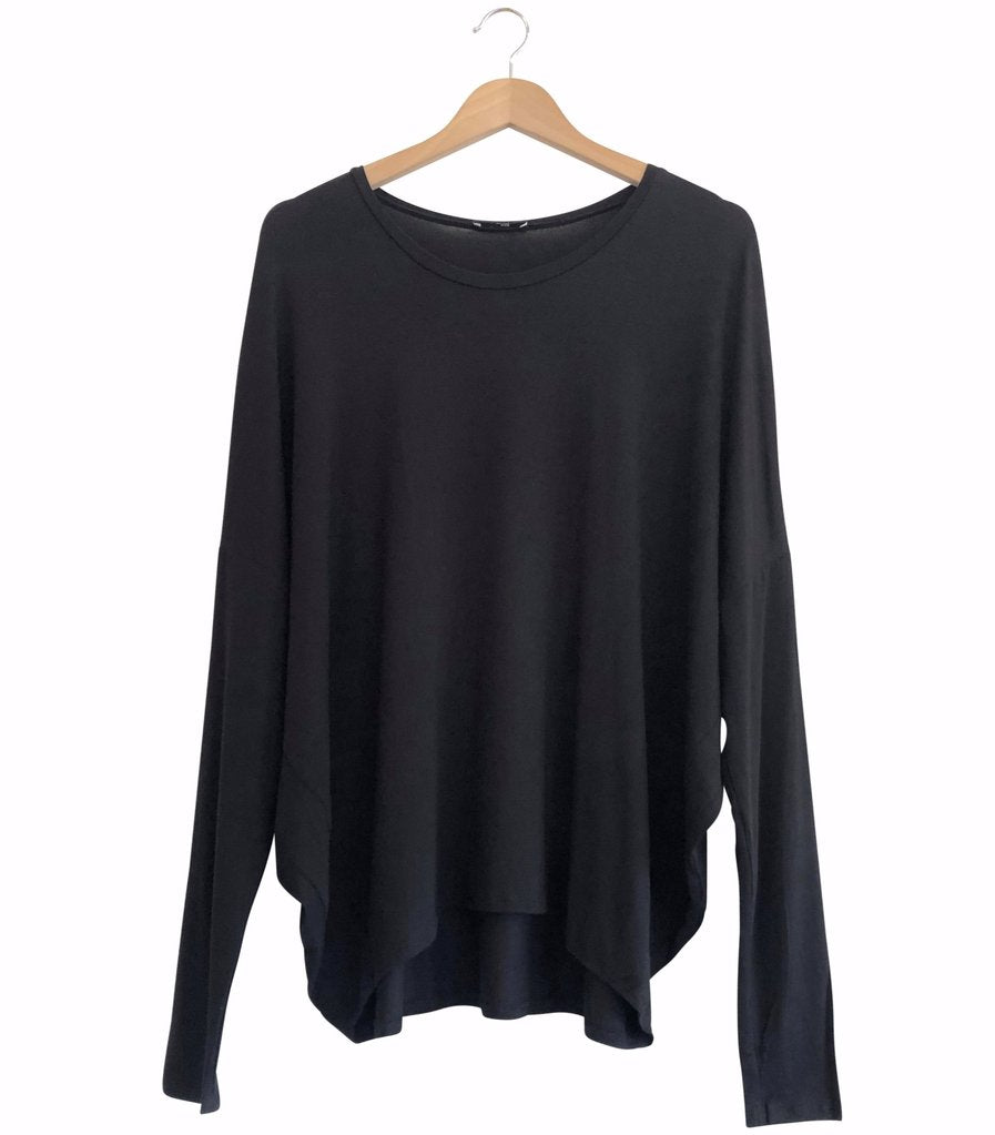 BAMBOO COCOON L/S TOP - black