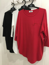ZIP CRESCENT LONG SLEEVE TOP - red, black, white