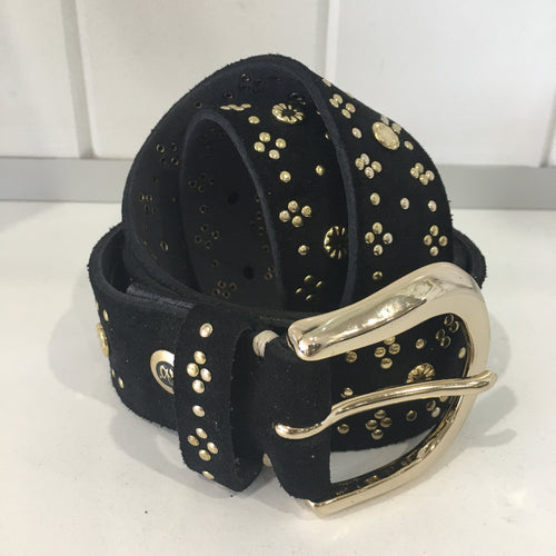 SUEDE 903 LEATHER BELT WITH GOLD RIVETS