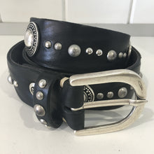 LEATHER CONCH BELT - black