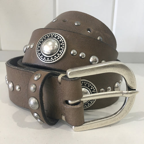 LEATHER CONCH BELT - taupe