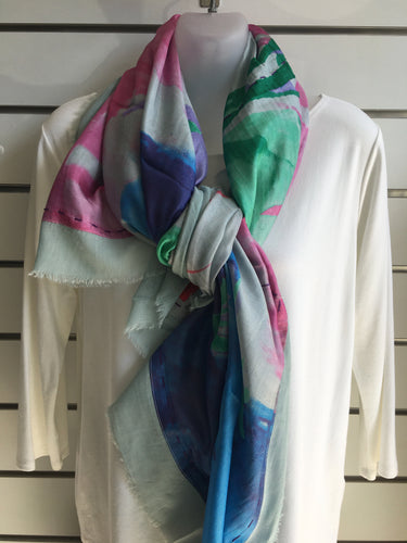 LOVE FLOWERS SCARF - blue